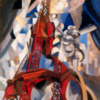 Robert Delaunay. Red Eiffel tower. From the Saint-séverin