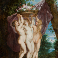 Три грации с корзиной цветов