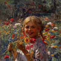 Федор Васильевич Сычков. Девочка в саду. 1940