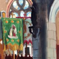 Морис Дени. Интерьер церкви с зеленым флагом