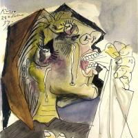 Пабло Пикассо. Плачущая женщина с платком. Дора Маар