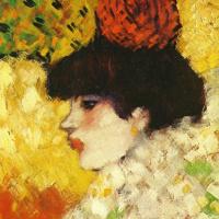 Пабло Пикассо. Профиль молодой девушки (Девушка с красным цветком в волосах)