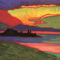 Sunset over lake Staffel