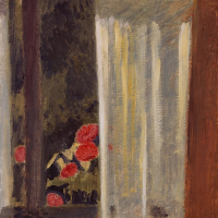 Cuno Amiè. The view through the curtained window of the flower garden