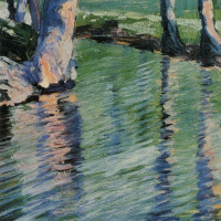 Egon Schiele. Trees reflecting in a pond