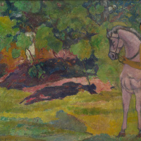 Paul Gauguin. In the vanilla grove, man and horse