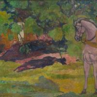 Поль Гоген. В ванильной роще, мужчина и лошадь