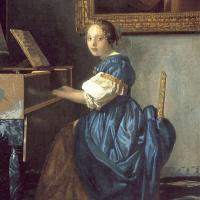Молодая девушка за клавесином. Фрагмент