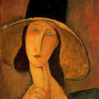 Амедео Модильяни. Портрет Жанны Эбютерн в большой шляпе