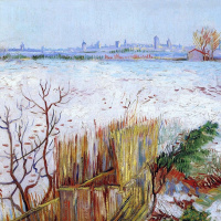 Snowy landscape with view of Arles