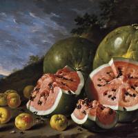 Луис Мелендес. Натюрморт с арбузами и яблоками в пейзаже