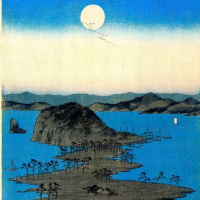 Утагава Хиросигэ. Восходящая полная луна в Канадзава
