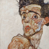 Egon Schiele. Self portrait with raised bare shoulder