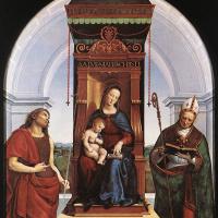 Рафаэль Санти. Мадонна с младенцем, Иоанном Крестителем и Святым Николаем (Мадонна на троне)