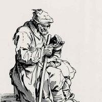 Жак Калло. Сидящий нищий за едой