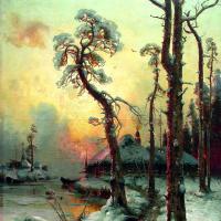 Юлий Юльевич Клевер. Зимний пейзаж с рекой и домами