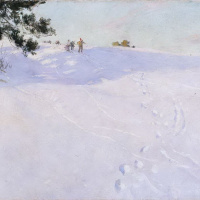 Skiers on snowy mountain top