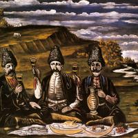 Нико Пиросмани (Пиросманашвили). Кутеж трех князей на лужайке