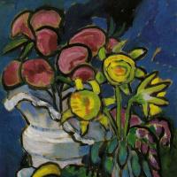 Габриель Мюнтер. Натюрморт с цветами и пасхальными яйцами