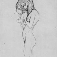 """Густав Климт. Обнаженная девушка. Эскиз для """"Бетховен Фриз. Три горгоны"""""""