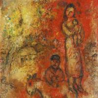 Марк Захарович Шагал. Семья на красно-желтом фоне