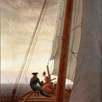 Caspar David Friedrich. On a sailing ship