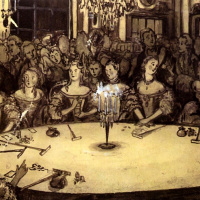 """The gaming house. Illustration for """"the Queen of spades"""" by Pushkin"""