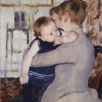 Мэри Кассат. Ребёнок в синем костюме, глядящий через плечо матери