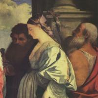 Тициан Вечеллио. Мадонна с Младенцем и четырьмя святыми, Иоанном Крестителем, Павлом, Марией Магдалиной и Иеронимом. Фрагмент: Мария Магдалина