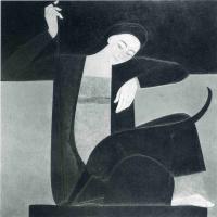 Уилл Барнет. Девушка играет с черным котом