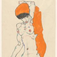 Эгон Шиле. Стоящая обнажённая с оранжевой драпировкой