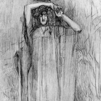 """The demon standing. Illustration to the poem by Mikhail Lermontov """"Demon"""""""