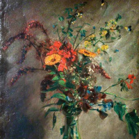 Джон Констебл. Цветы в стеклянной вазе. Этюд