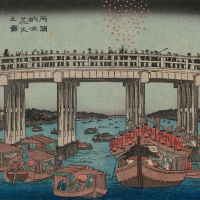 Утагава Хиросигэ. Фейерверк прохладным вечером на мосту Рюгоку, из серии лучших видов Эдо