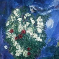 Букет с лилиями и летящие любовники