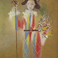 Pablo Picasso. Paulo dressed as harlequin with flowers