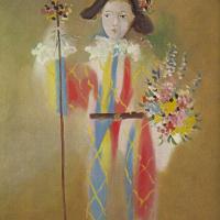 Пауло в костюме Арлекина с цветами