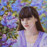Мила Канеева. Девушка в цветущем саду