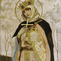 Mikhail Vasilyevich Nesterov. Holy equal to the apostles Princess Olga. Sketch the image of the iconostasis of the southern chapel in the choir of St. Vladimir Cathedral in Kiev