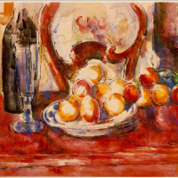 Still life with apples, bottle and chair behind