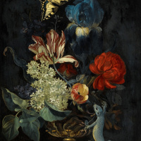 Willem van Aelst. Still life with flowers, a butterfly and a lizard