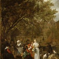 Габриель Метсю. Овощной рынок в Амстердаме