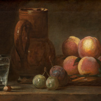 Still life with pitcher, fruit and a glass Cup