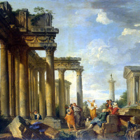 Sibyl sermon in Roman ruins with the statue of Apollo