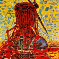 Ветряная мельница в солнечном свете