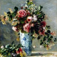 Пьер Огюст Ренуар. Розы и жасмин в дельфтской вазе