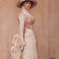 James Abbot McNeill Whistler. Pink-grey Nocturne. Portrait of a lady IU