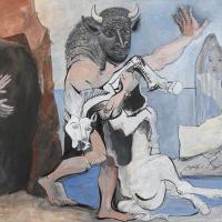 Пабло Пикассо. Минотавр с мертвой лошадью у пещеры перед девушкой в вуали
