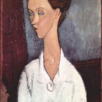 Amedeo Modigliani. Portrait of Chekhov Lunii in white blouse