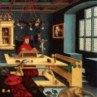 Portrait of cardinal Albrecht of Brandenburg in the form of St. Jerome in the cell